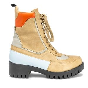 Women's Lace Up Tan Ankle Combat Boots